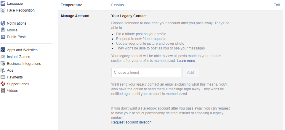 facebook features: Legacy Contact