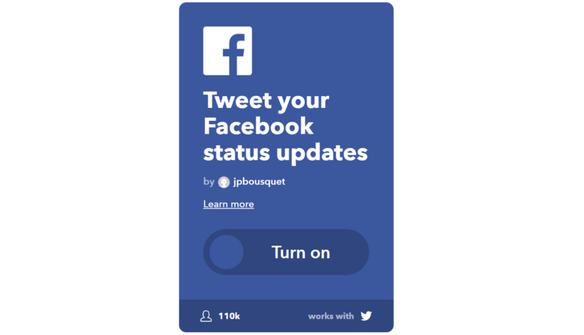 IFTTT Applet Facebook to Twitter