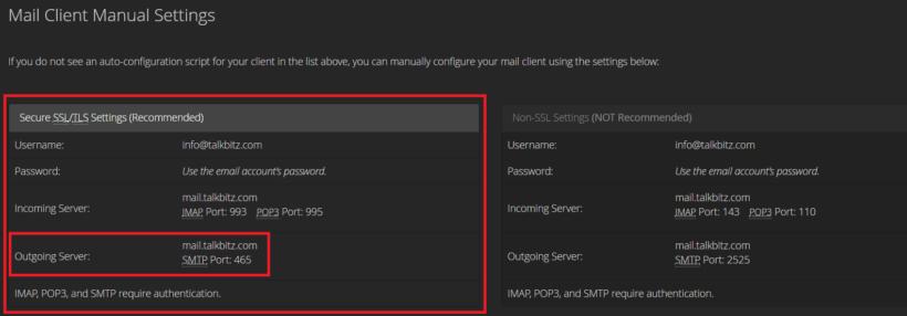 Outgoing Server details