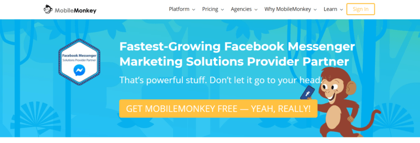 MobileMonkey.com chatbot for facebook messenger