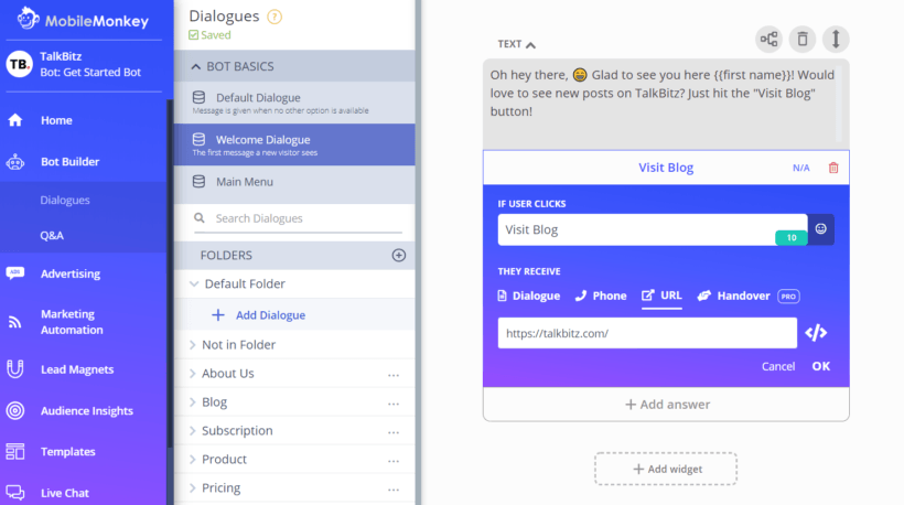 MobileMonkey Build Dialogues