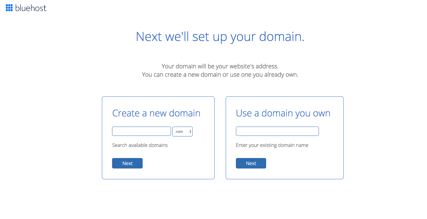 Choose a domain at Bluehost