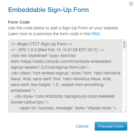 Add embed code to Building an Email List