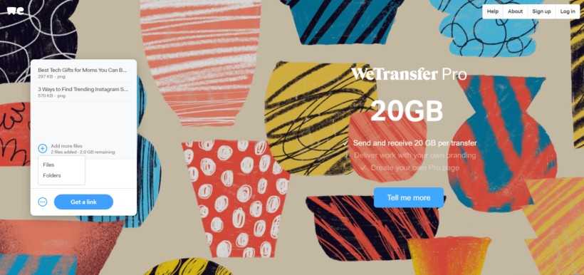 Add your files: How to Use Wetransfer