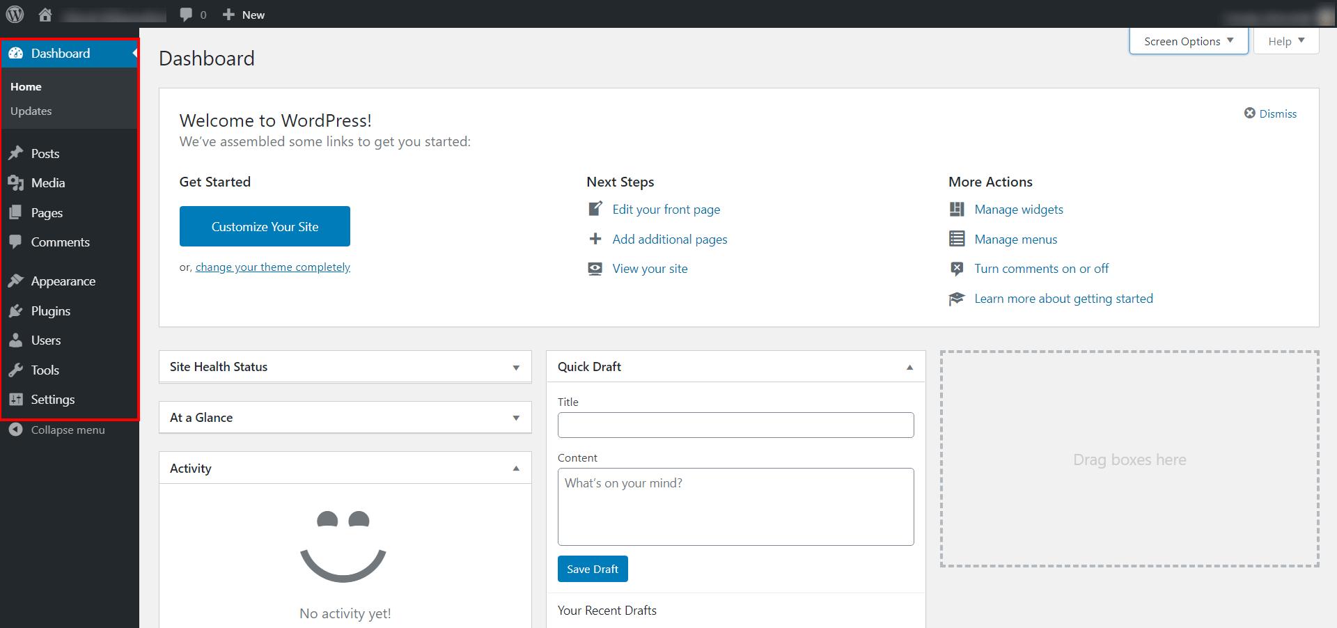WordPress Dashboard 2020