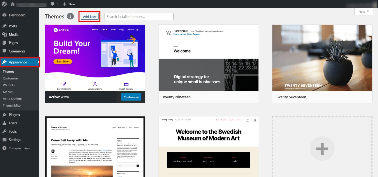 Appearance of WordPress