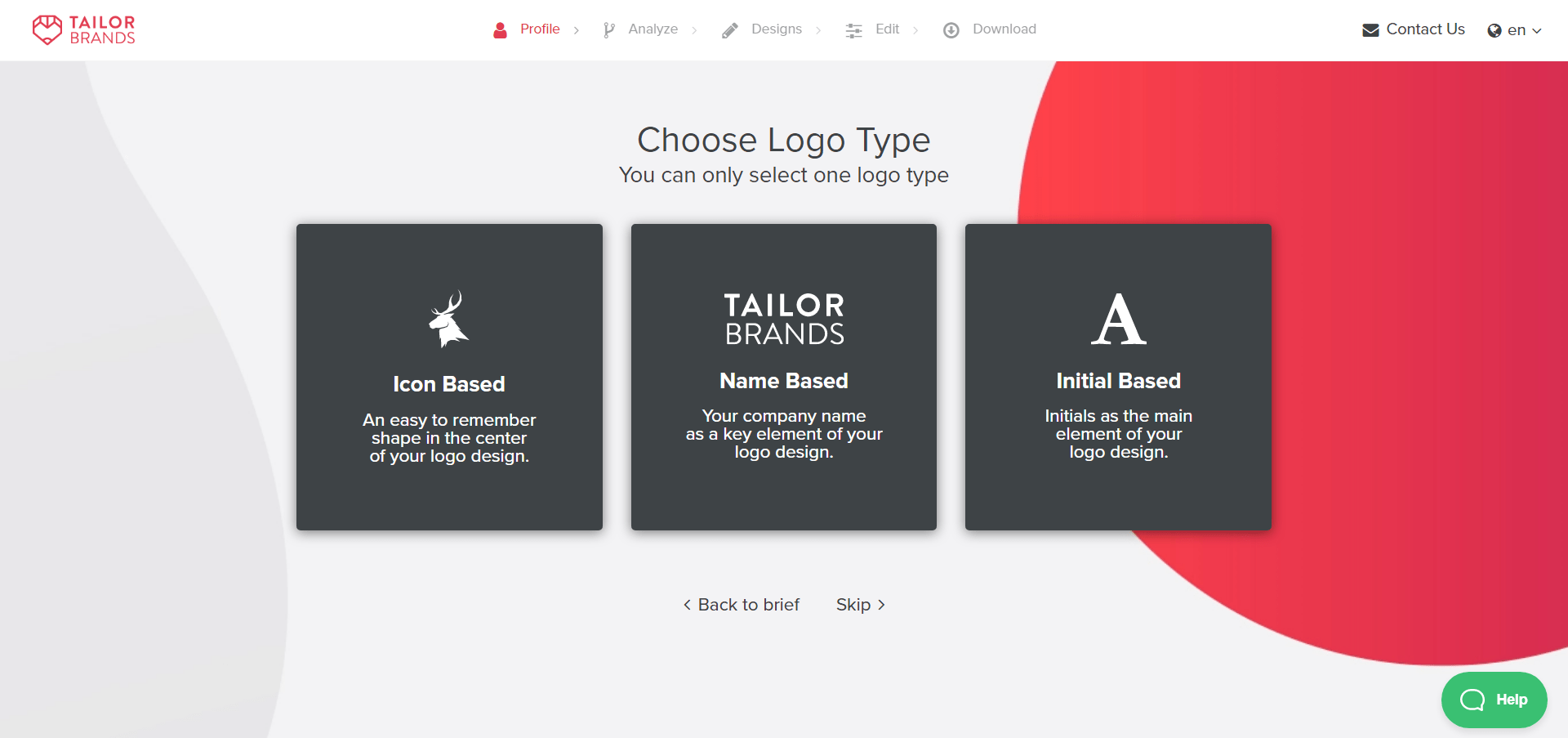 Tailor brands Logo types