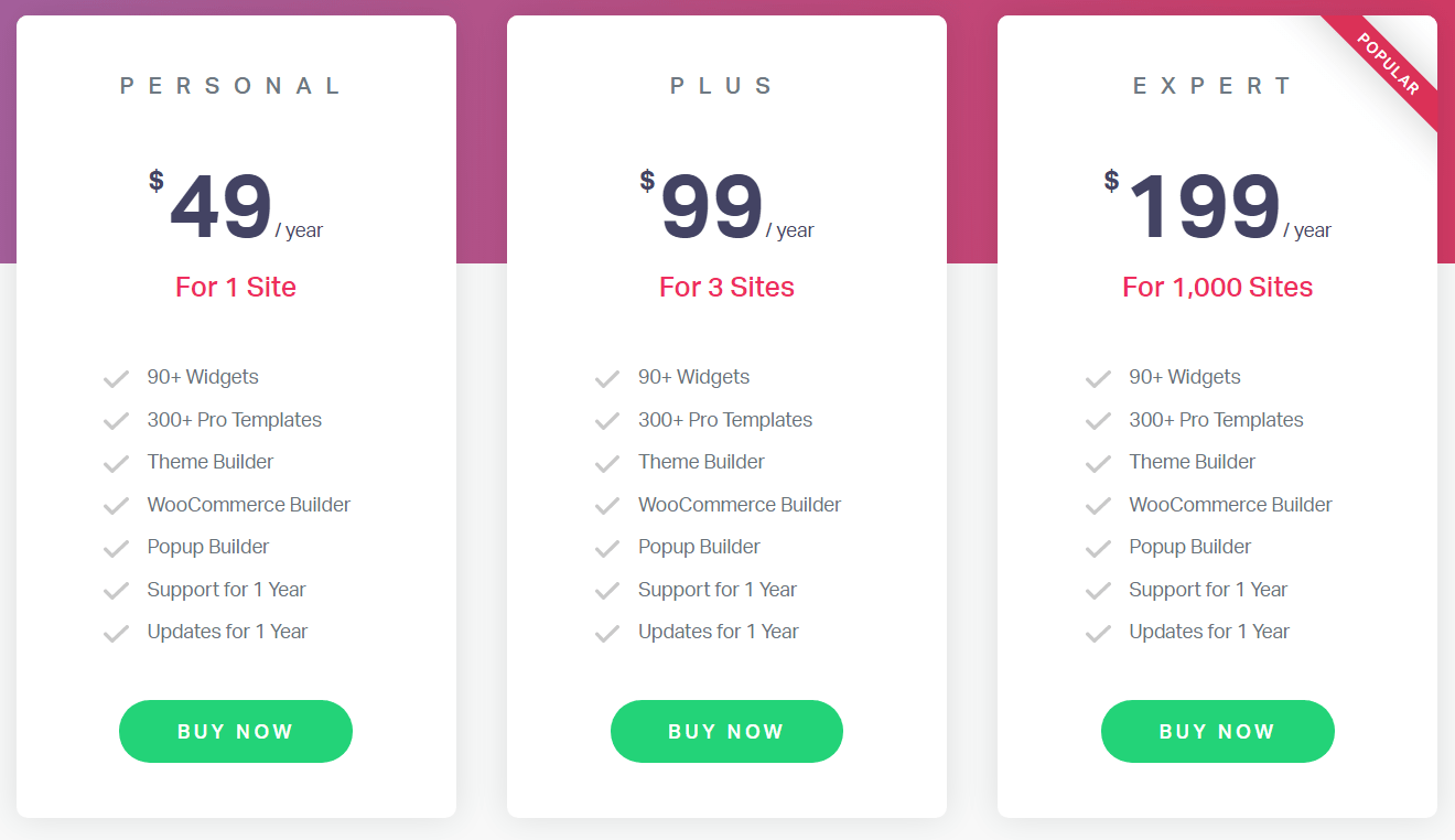 Elementor Page Builder Pricing