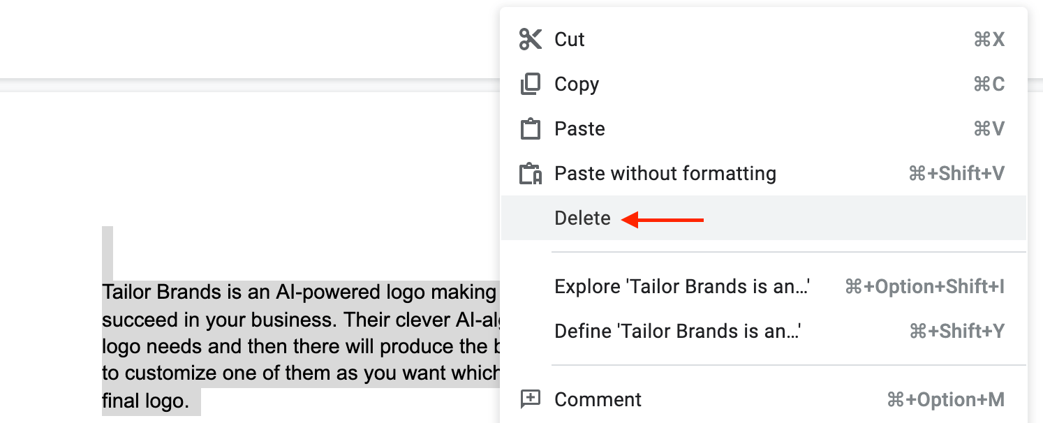 Clear the Content to Delete a Page in Google Docs