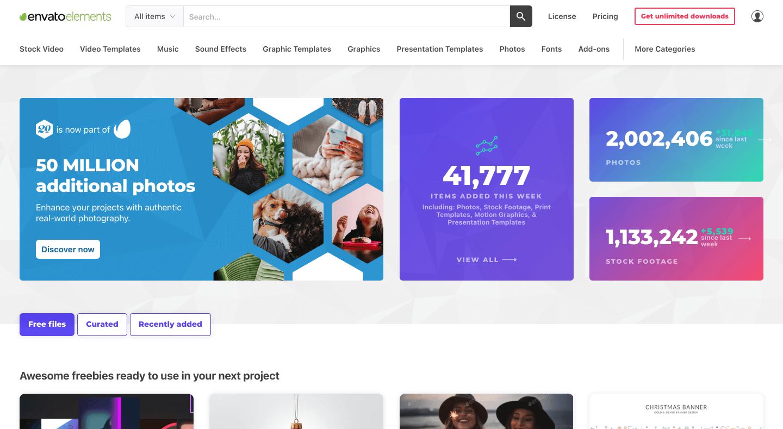 Envato Elements Home Page