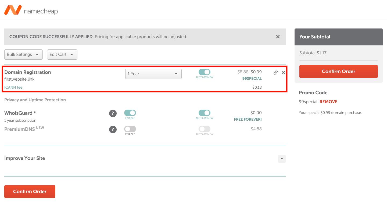 Namecheap domain checkout