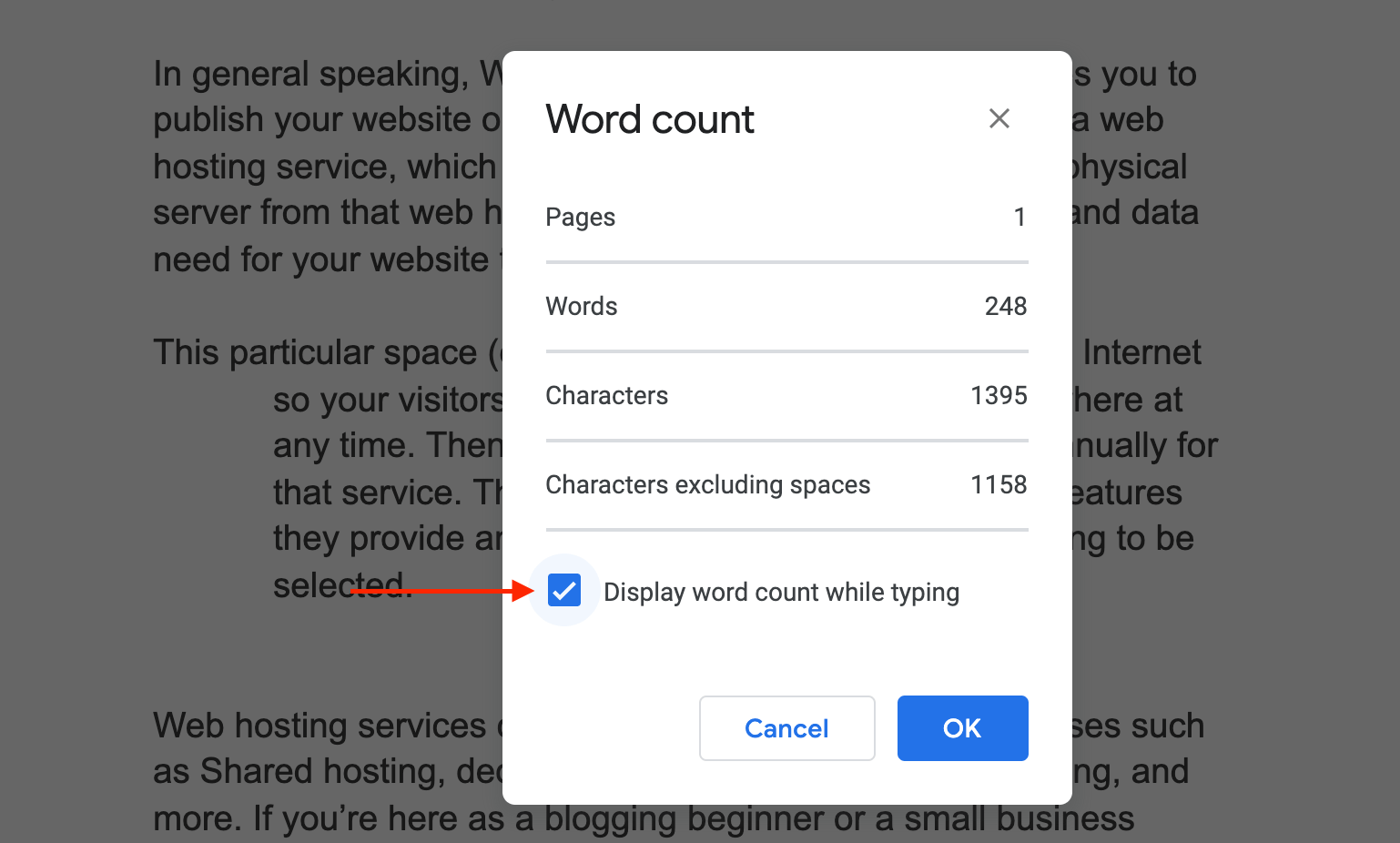 Display Word count in Google Docs
