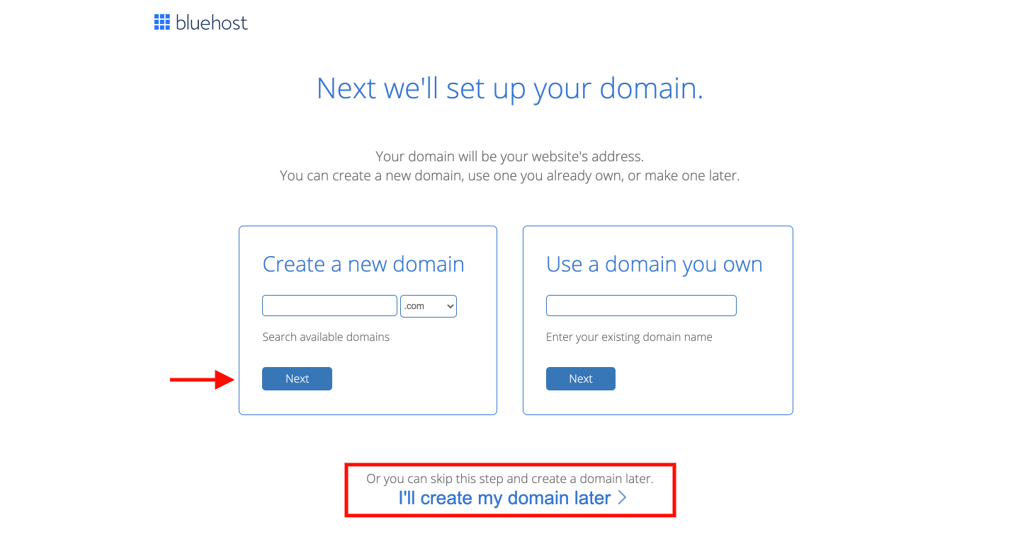Create a new domain Bluehost