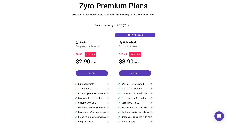 Zyro Premium Plans